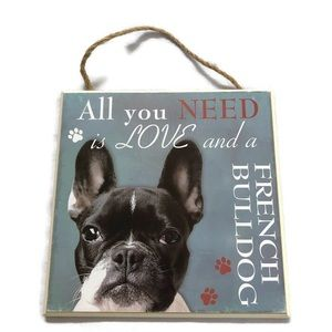 French Bulldog love hang sign wall art dog lovers